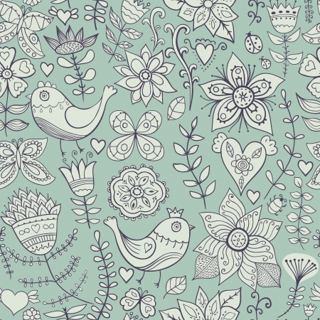 Seamless texture with flowers, birds and butterflies. Seamless pattern can be used for wallpaper, pattern fills, web page background,surface textures. Gorgeous seamless floral background