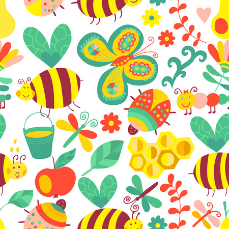 vector fabric: Vector seamless floral pattern. Summer composition with honeycomb, bees, flowers. Use it as pattern fills, web page background, surface textures, fabric or paper, backdrop design. Summer template. Illustration