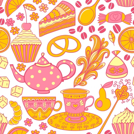 teatime: Tea vector seamless doodle teatime backdrop.Cakes to celebrate any event or occasion, use it as pattern fills, web page background, surface textures, fabric or paper, backdrop design. Summer template. Illustration