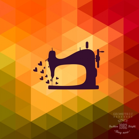 machine made: Old sewing machine on hipster background made of triangles with grunge paper. Retro background with floral ornament and geometric shapes.Retro label design. Color flow effect. Hipster theme label.