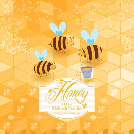 Honey template background. Vintage frame with Honey, bee, honey spoon, set template with label and yellow geometric pattern of honeycomb. Honeycomb, frame label and the funny bees. Vector