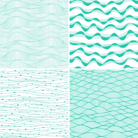 Set of four seamless abstract hand-drawn pattern, waves background. Each square pattern has the ability to be repeated or tiled without visible seams. Stock Vector - 25379701