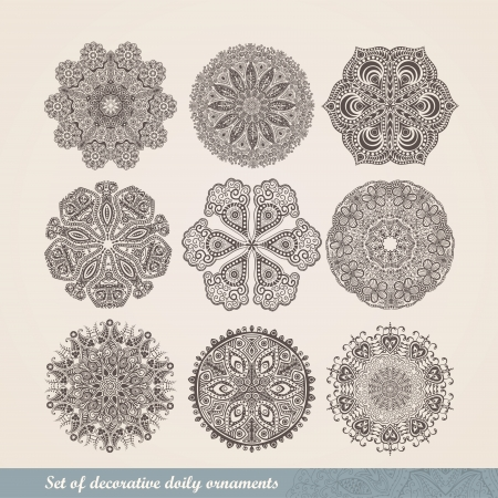 Vector Indian ornament, kaleidoscopic floral pattern, mandala. Set of nine ornament lace. ornamental round lace pattern, circle background with many details, looks like crocheting handmade lace Vector