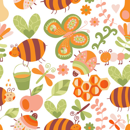abejas panal: Vector sin patr�n floral. Composici�n del verano con el panal, las abejas, las flores. Lo utilizan como patrones de relleno, de fondo p�gina web texturas de la superficie, de tela o de papel, dise�o de fondo. Plantilla de Verano. Vectores