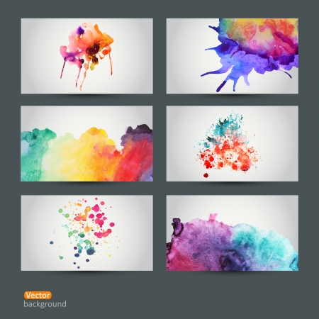 Vector set of six watercolor abstract hand drawn background,vector illustration, stain watercolors colors wet on wet paper. Watercolor composition for scrapbook elements Vector