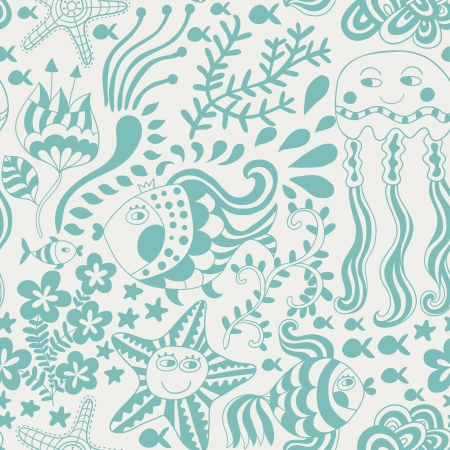 sea side: Cartoon set with sea live, vector set. Copy that square to the side and youll get seamlessly tiling pattern which gives the resulting image the ability to be repeated or tiled without visible seams.