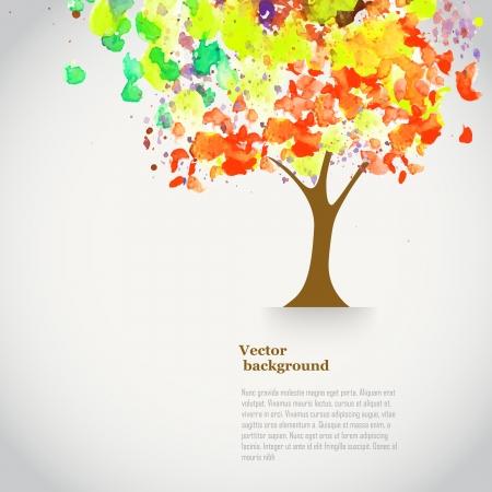 vida: Vector de la acuarela del árbol del otoño con pintura en aerosol. Bandera del tema del otoño con el lugar para su texto. Fondo con el árbol de la acuarela. Telón de fondo de la acuarela.