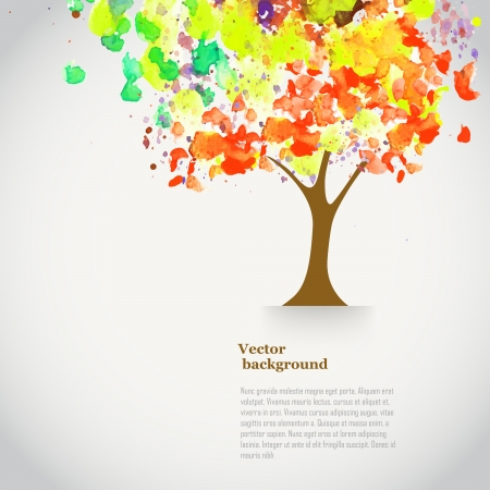 Vector watercolor autumn tree  with spray paint. Autumnal theme banner with place for your text. Background with watercolor tree. Watercolor backdrop. Illustration