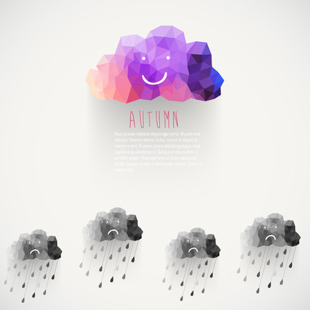 cloudburst: Vector cloud smile, made of triangles. Think positive. Retro background with rain drop pattern. Label design. Square composition with geometric shapes.Weather backdrop. Autumn template. Illustration