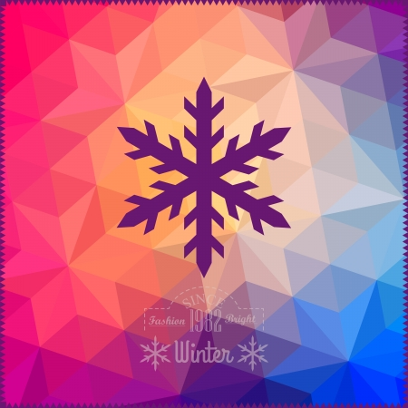 snowflake icon: Vector snowflake. Abstract snowflake on geometric pattern. Snowflake sign. Christmas. New Year card illustration.Holiday design. Winter. Backdrop. Retro pattern of geometric shapes. Hipster background