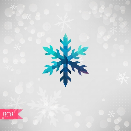 snowflake icon: Vector snowflake. Abstract snowflake of geometric shapes. Sign of the blue snowflakes. Christmas. New Year card illustration. Holiday design. Winter. Backdrop. Silver backdround with white snowflakes.