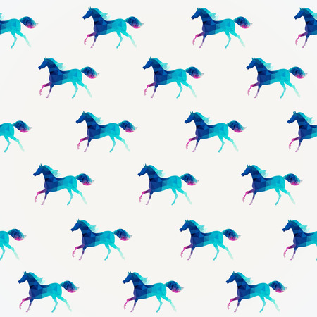 Horse seamless pattern. Vector. Vector triangle horse. Abstract horse of geometric shapes. Sign of the blue horse.Illustration with horse. Holiday design. Symbol of 2014. Winter. Backdrop. Gradient. Vector