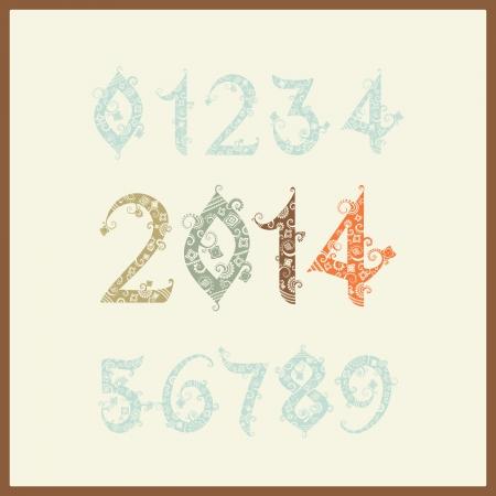 one year old: Vector A�o Nuevo 2014 (dos mil trece). Conjunto de n�meros estilizados. Elegante fondo de Navidad con 2.014 signo. Ilustraci�n vectorial. Feliz a�o nuevo 2014, los n�meros de colores Vectores