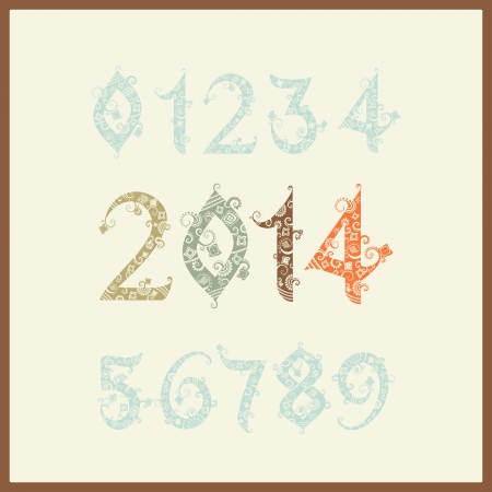 eight year old: Vector New year 2014 (two thousand and thirteen). Set of stylized numbers. Elegant Christmas background with 2014 sign. Vector Illustration. Happy new year 2014, colorful numbers