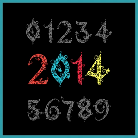two thousand: Vector New year 2014 (two thousand and thirteen). Set of stylized numbers. Elegant Christmas background with 2014 sign. Vector Illustration. Happy new year 2014, colorful numbers