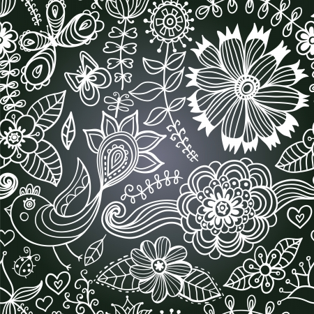 Vector chalkboard seamless floral pattern. Copy that square to the side,you'll get seamlessly tiling pattern which gives the resulting image the ability to be repeated or tiled without visible seams. Vector