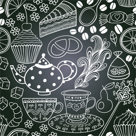 Vector chalkboard seamless floral pattern. Copy that square to the side,youll get seamlessly tiling pattern which gives the resulting image the ability to be repeated or tiled without visible seams Ilustração