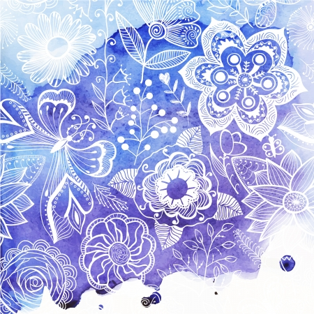 Vector watercolor texture with floral ornament. Wet paper. Blobs, stain, paints blot. Looks like ocean water or sky, maritime theme. Backdrop for scrapbook elements with space for text. Banner. Vector