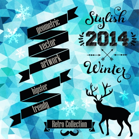 Vector retro supply on hipster background made of triangles. Retro styled badges, signs. Vintage. Backdrop. Geometric background. Winter. Geometric. Typographic label. Laurel. Arrows. Vector