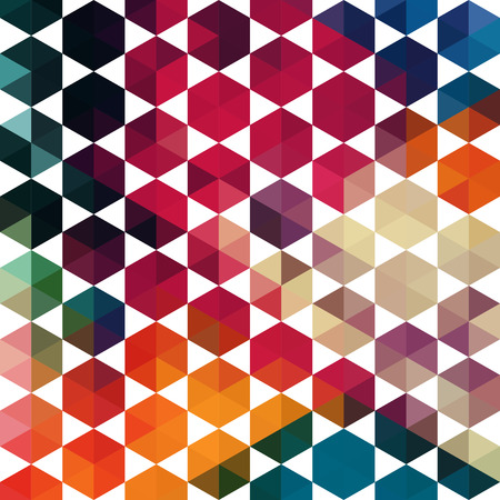 parallelepiped: Vector retro pattern of geometric shapes. Colorful mosaic banner. Geometric hipster retro background with place for your text. Retro triangles background. Backdrop. Color. Colorful.