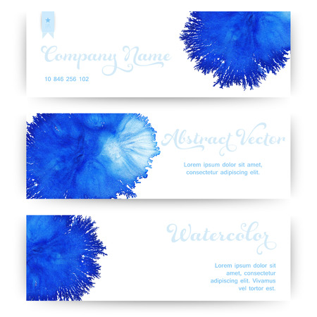 water flow: Vector banners with watercolor stain like coral. Abstract watercolor. Abstract hand drawn watercolor banner, vector illustration. Illustration