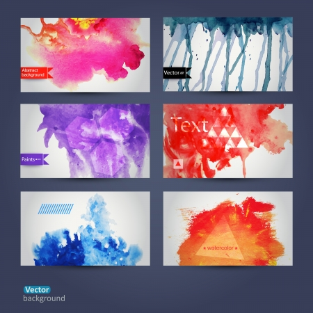 Vector abstract hand drawn set of six watercolor background,vector illustration, stain watercolors colors  on wet paper. Watercolor composition for scrapbook elements. Hipster theme. Design template.