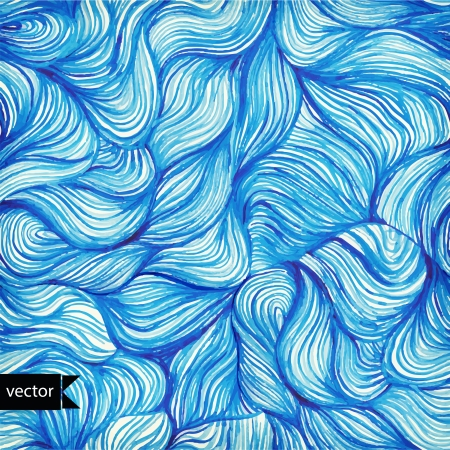 Vector watercolor seamless wave hand-drawn pattern, background (seamlessly tiling). Watercolor blue pattern. Hair. Paints. Backdrop. Vector