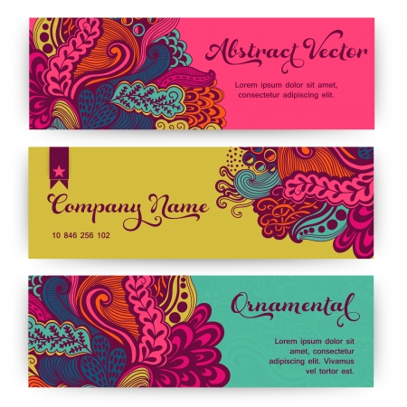 Vector stylish floral banners. Bright doodle cartoon cards in vector. Abstract header vector background. You can place your message above. Doodles. Waves. Ornament. Template for cards. Vector
