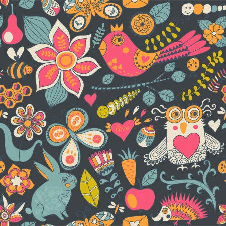 Seamless texture with flowers, birds and butterflies. Use for wallpaper, pattern fills, web page background, surface textures. Cute animals in forest. Owl. Rabbit. Fauna. Vector