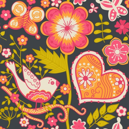 Seamless texture with flowers and butterflies. Endless floral pattern. Valentines day backdrop. Vector