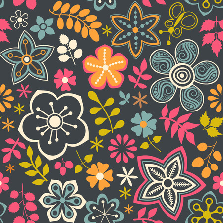 Floral seamless pattern with flowers. Vector blooming doodle floral texture. Decoration with detailed flower. Vector