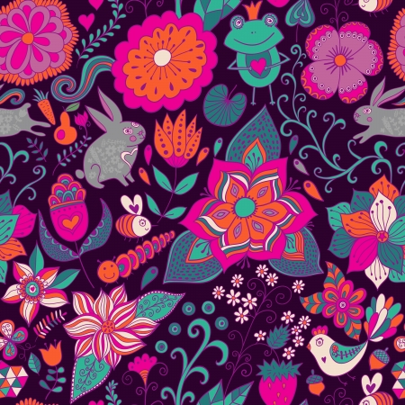 Romantic doodle floral texture. Copy that square to the side and you'll get seamlessly tiling pattern which gives the resulting image the ability to be repeated or tiled without visible seams. Vector