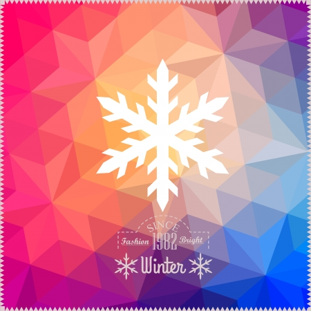 Vector snowflake. Abstract snowflake on geometric pattern. Snowflake sign. Christmas. New Year card illustration.Holiday design. Winter Backdrop. Retro pattern of geometric shapes. Hipster background Vector