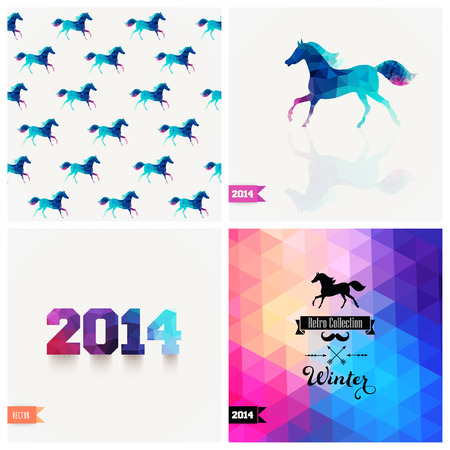 Set of four New Year symbols. Blue horse.Vector retro supply, hipster background. Retro styled badge, signs. Banner. Horse Backdrop. Geometric. Triangle. Winter. Silhouette. Christmas label.Vector. Vector