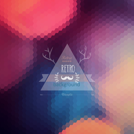 Vector hipster background. Retro label design. Infographics composition with geometric shapes. Mustache. Hexagon. Triangle label with wreath and deer antlers. Retro backdrop. Blur. Bokeh. Vector