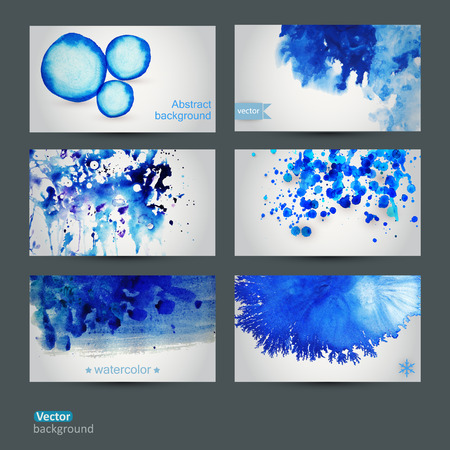 Vector abstract hand drawn set of six watercolor background,vector illustration, stain watercolors colors wet on wet paper. Watercolor composition for scrapbook elements Vector