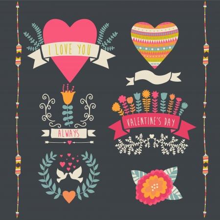 Valentine label set. Valentine`s Day emblems. Vector illustration. Vintage love collection.Laurel, wreath. flag. Tribal. Vector