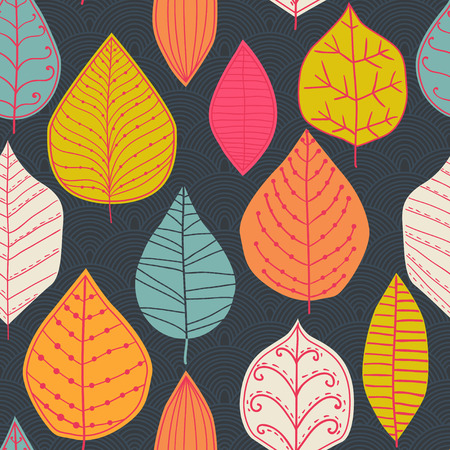 vector seamless abstract hand-drawn pattern, leaf backdrop, Endless background. Ethnic seamless pattern. Vector backdrop. Bright pattern.  Vector