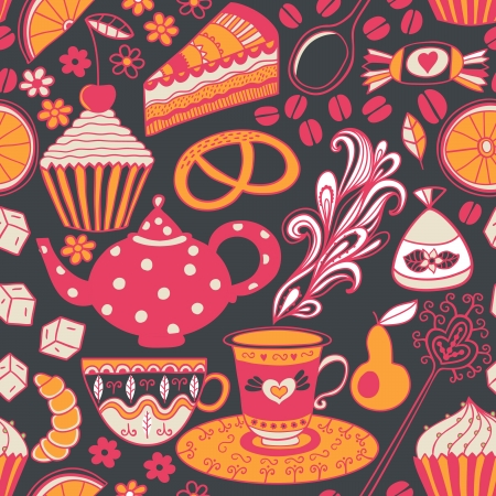 Tea vector seamless doodle teatime backdrop.Cakes to celebrate any event or occasion, use it as pattern fills, web page background, surface textures, fabric or paper, backdrop design. Summer template. Stock Vector - 25504124