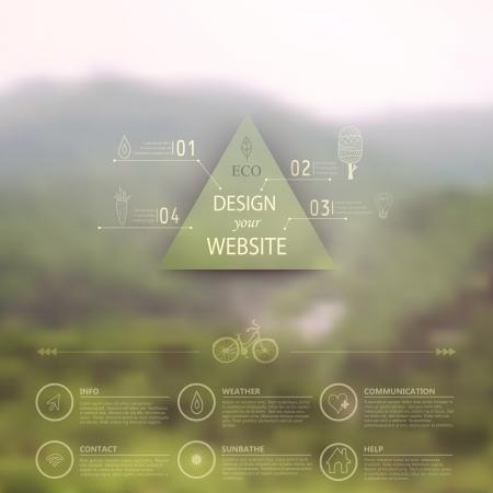 Vector web en mobiele interface template. Corporate website design. Minimalistische multifunctionele media achtergrond. Vector. Bewerkbaar. Wazig. Driehoek badge label, berglandschap. Opties, Icoon