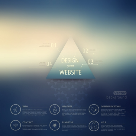 Vector web and mobile interface template. Corporate website design. Minimalistic  multifunctional media backdrop. Vector. Editable. Blurred. Triangle badge label  over blur background. Options Vector