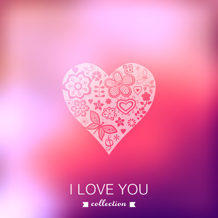 Vector Valentines Day background. Heart. Blurred template, holiday. Invitation card in a doodles style.  Vector