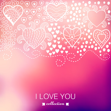 Vector Valentine's Day background. Blurred template, holiday. Invitation card in a tribal style. Pink stylish backdrop. Wedding invitation. Happy St. Valentine's Day.  greeting card design. Vector