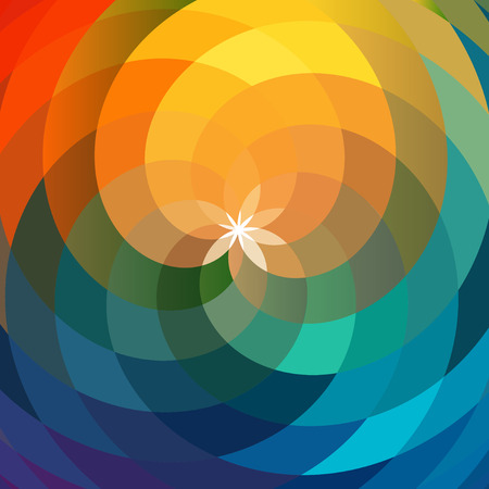 swag: Template spiral, geometric flower. Abstract template, bright flowers backdrop Illustration