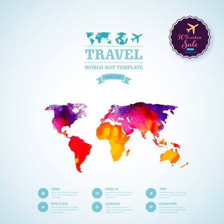 corporate world: Vector watercolor map, web and mobile template. Corporate website design. Web media backdrop. Travel. Blurred. Background. Calligraphy badge. Website icons template.