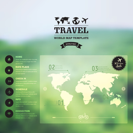 page layout design: Vector watercolor map, web and mobile template. Corporate website design. Web media backdrop. Travel. Blurred. Background. Calligraphy badge. Website icons template.