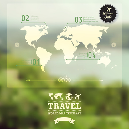 Vector blurred natural landscape.  Map on blurry background. Identity. Travel, enjoy nature concept. Web, mobile interface template.  Vector