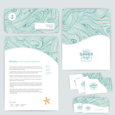 kit design: Vector corporate identity, wave pattern. Abstract backdrop. Maritime banner design template. Brand, visualization, corporate identity business set. Identity Design Template. Card, envelope. Illustration
