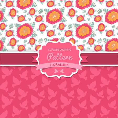 Vector seamless  patterns. Dove. Shabby chic. Floral patterns (seamlessly tiling).  Vector
