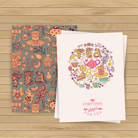 Greeting floral card. Tea Branding Design. Coffee and Tea design set cards. Vector